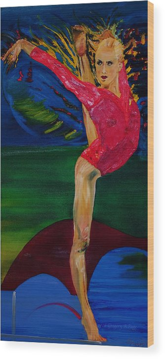Olympic Gymnast Photo Wood Print featuring the painting Olympic Gymnast Nastia Liukin by Gregory Allen Page