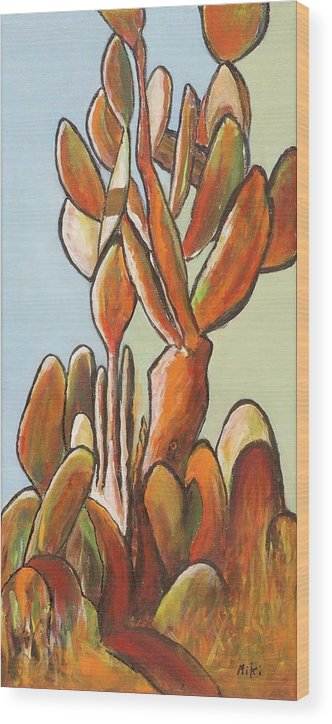Cactus Wood Print featuring the painting Sabar Cactus by Miki Sion
