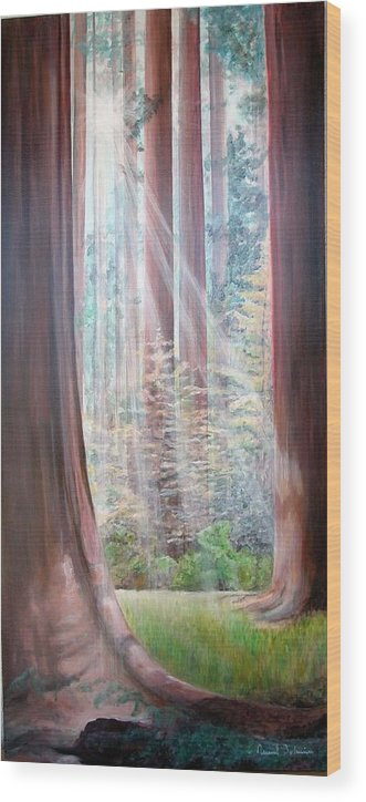 Landscape Wood Print featuring the painting Sequoia by Muriel Dolemieux