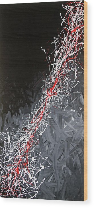 Abstract Wood Print featuring the painting Static by Paul Harrington