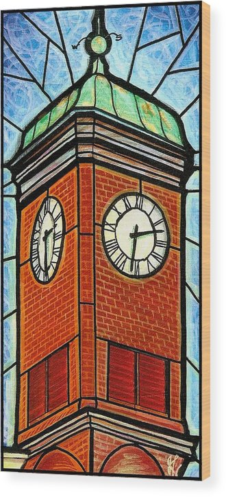Clocks Wood Print featuring the painting Staunton Clock Tower Landmark by Jim Harris