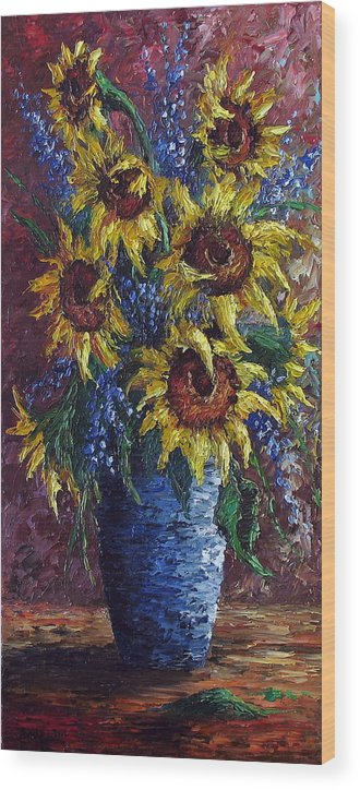Flowers Wood Print featuring the painting Sunflower Bouquet by David G Paul