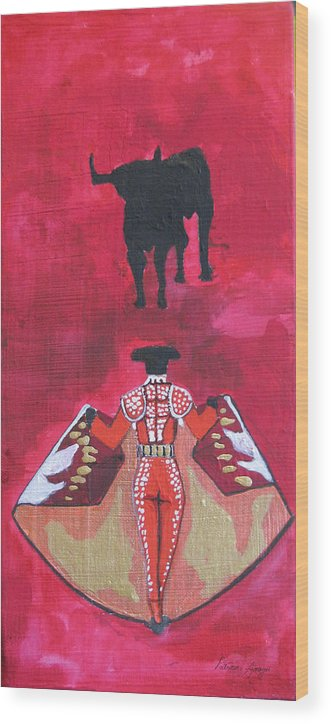 Spanish Art Wood Print featuring the painting The Bull Fight No.1 by Patricia Arroyo