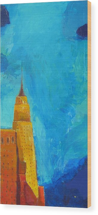 Abstract Cityscape Wood Print featuring the painting The Empire State by Habib Ayat