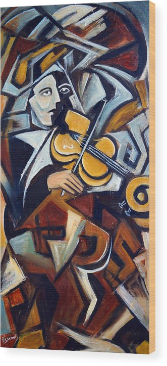 Musician Wood Print featuring the painting The Fiddler by Valerie Vescovi