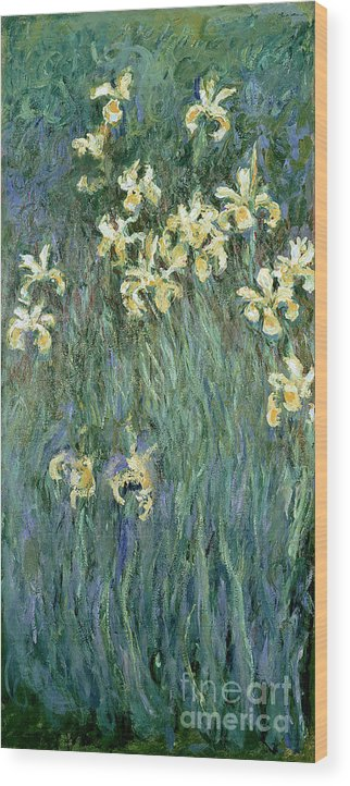 The Wood Print featuring the painting The Yellow Irises by Claude Monet
