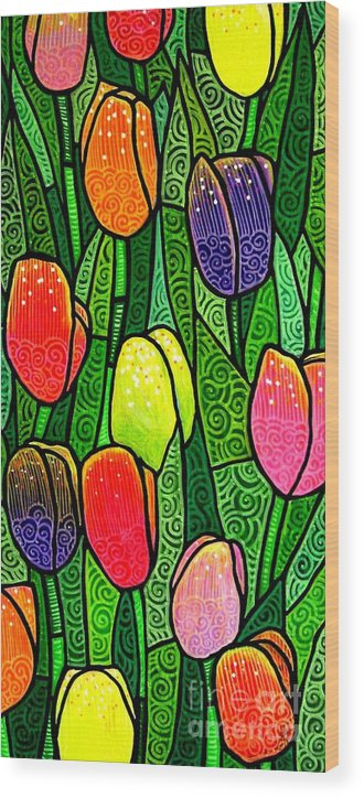 Tulips Wood Print featuring the painting Tulip Glory by Jim Harris