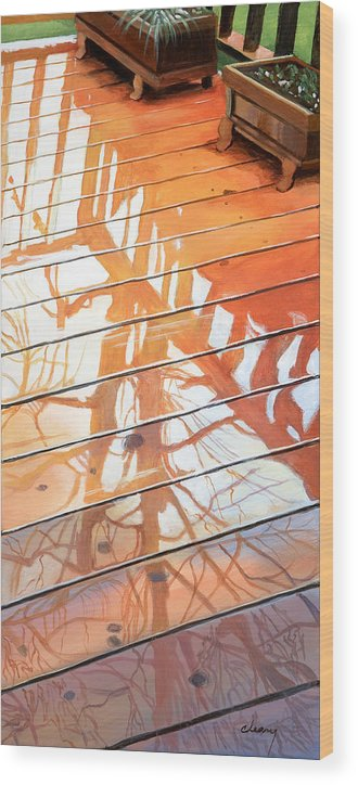 Oregon Wood Print featuring the painting Wet Deck 2 by Melody Cleary