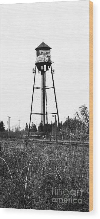 Water Tower Wood Print featuring the digital art Weldwood Water Tower by Susan Sligh