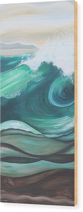 Sea Wood Print featuring the painting Elemental Sea No 1 by Helen Bennett