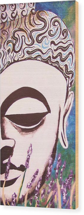 Buddha Wood Print featuring the painting Lavender Buddha Part Two by Kevin J Cooper Artwork