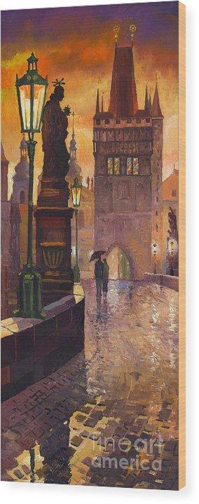 Prague Wood Print featuring the painting Prague Charles Bridge 01 by Yuriy Shevchuk