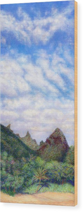 Coastal Decor Wood Print featuring the painting Island Sky by Kenneth Grzesik