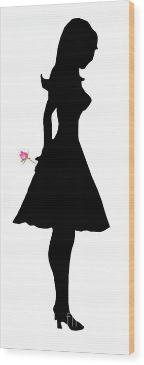 Silhouette Wood Print featuring the digital art Thinking Of You by Jo Baby