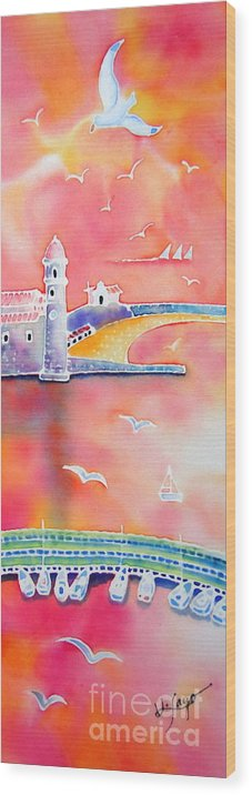 Collioure Wood Print featuring the painting Catalan Sunset by Hisayo Ohta