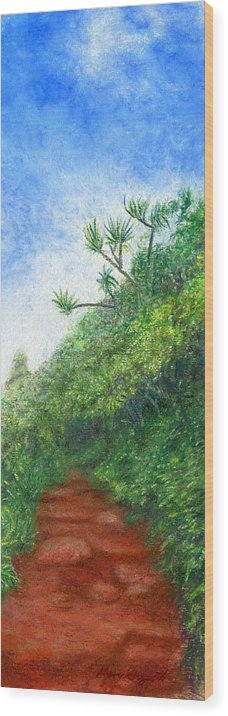 Coastal Decor Wood Print featuring the painting Along The Trail by Kenneth Grzesik