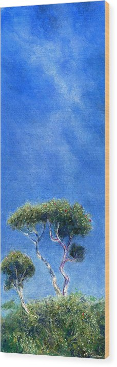 Rainbow Colors Pastel Wood Print featuring the painting Kokee Trees by Kenneth Grzesik