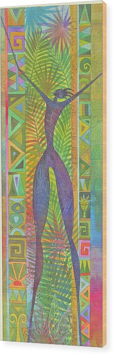 Tropical Spiritual Exotic Joy Figure Patterns Wood Print featuring the painting Oh What Joy by Jennifer Baird