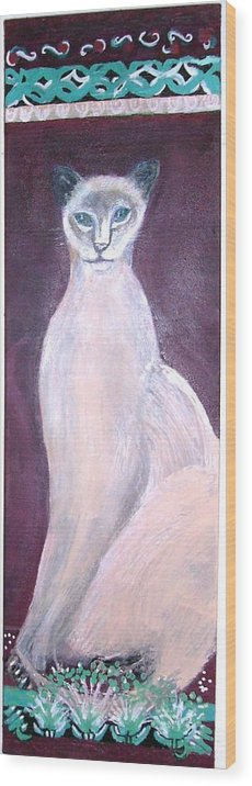 Animal Cat Siamese Tall Statuesque Sophisticated Beige Burgandy Aqua Felinelue Eyes Feline Topcat Wood Print featuring the mixed media Siamese If You Please Revisited by Anne-Elizabeth Whiteway