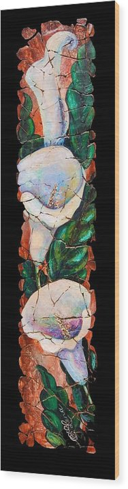 Fresco Antique Painting Flower Wood Print featuring the painting Calla Fresco by OLena Art Lena Owens