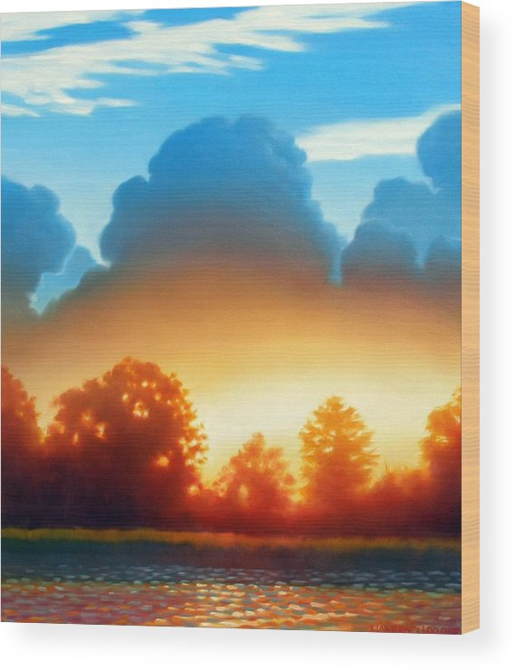 Sunset Wood Print featuring the painting Glowing by Kevin Lawrence Leveque