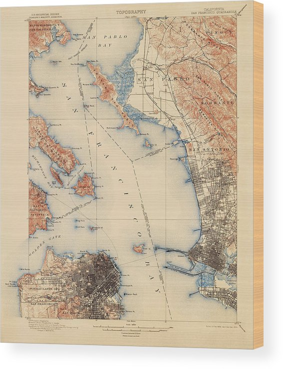 picture about Printable Map of San Francisco named Antique Map Of San Francisco And The Bay Regional - Usgs Topographic Map - 1899 Picket Print