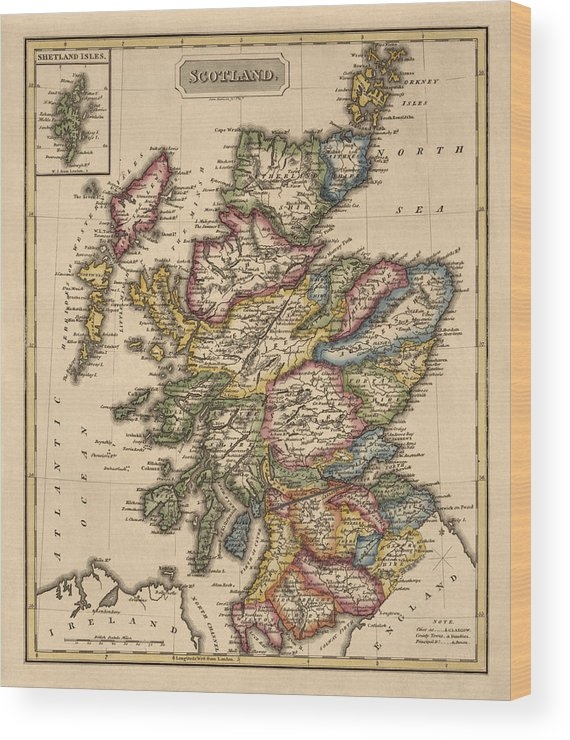 photo regarding Printable Map of Scotland referred to as Antique Map Of Scotland By means of Fielding Lucas - Circa 1817 Wooden Print