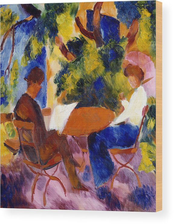At The Garden Table Wood Print featuring the painting At The Garden Table by August Macke