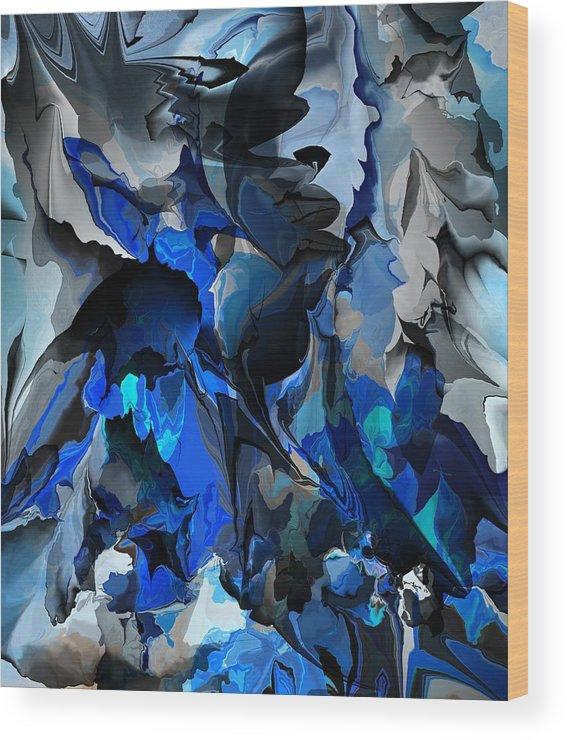 Fine Art Wood Print featuring the digital art Blue Chaos by David Lane