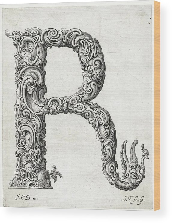 R Wood Print featuring the photograph Decorative Letter Type R 1650 by Georgia Fowler