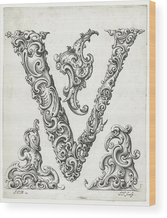 H Wood Print featuring the photograph Decorative Letter Type V 1650 by Georgia Fowler