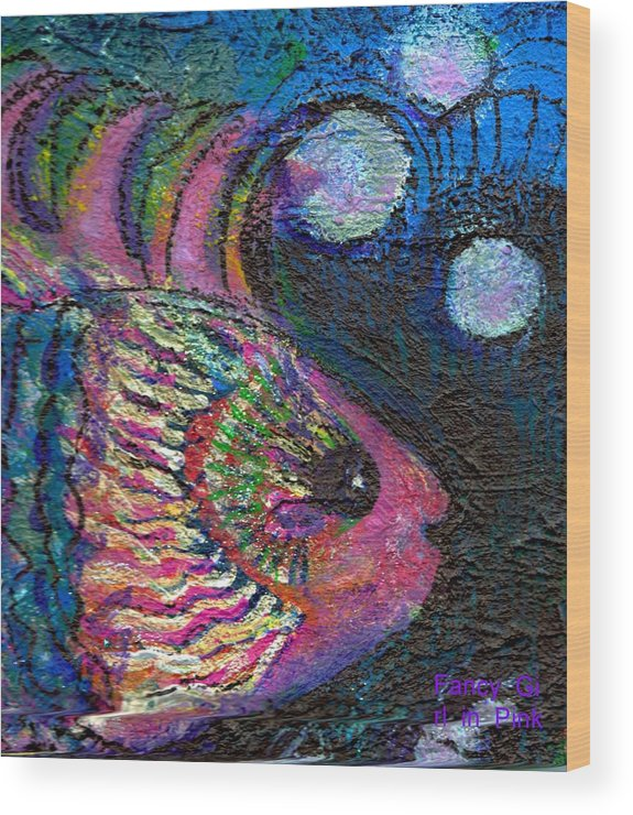 Pink Wood Print featuring the painting Happy Pink Fish by Anne-Elizabeth Whiteway