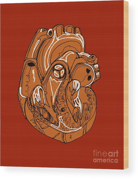 Heart Wood Print featuring the photograph Heart, Illustration by Claudia Stocker