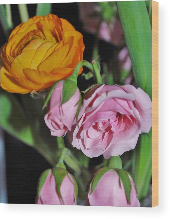 Ranunculus Wood Print featuring the painting Orange Ranunculus And Pink Roses by Mimi Saint DAgneaux