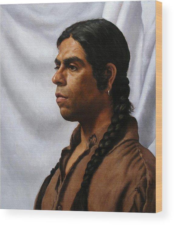 Portrait Wood Print featuring the painting Raven's Portrait by Deborah Allison