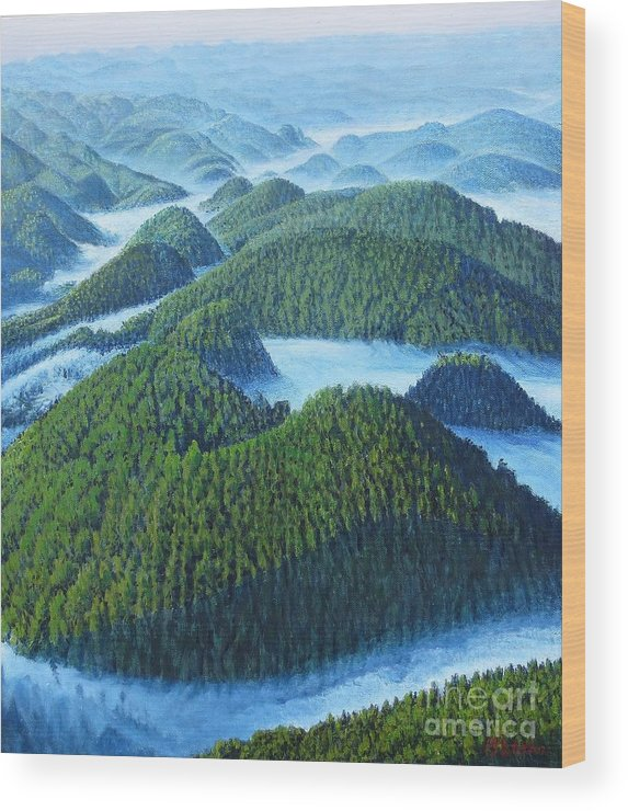 Lanscape Wood Print featuring the painting River Of Clouds by Tierong Fu