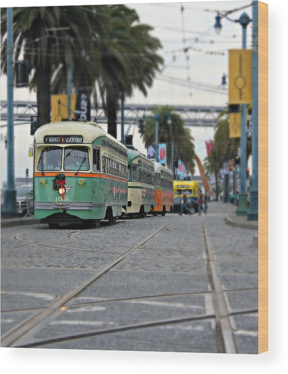 San Francisco Wood Print featuring the photograph San Francisco Trolleys by Steve Natale