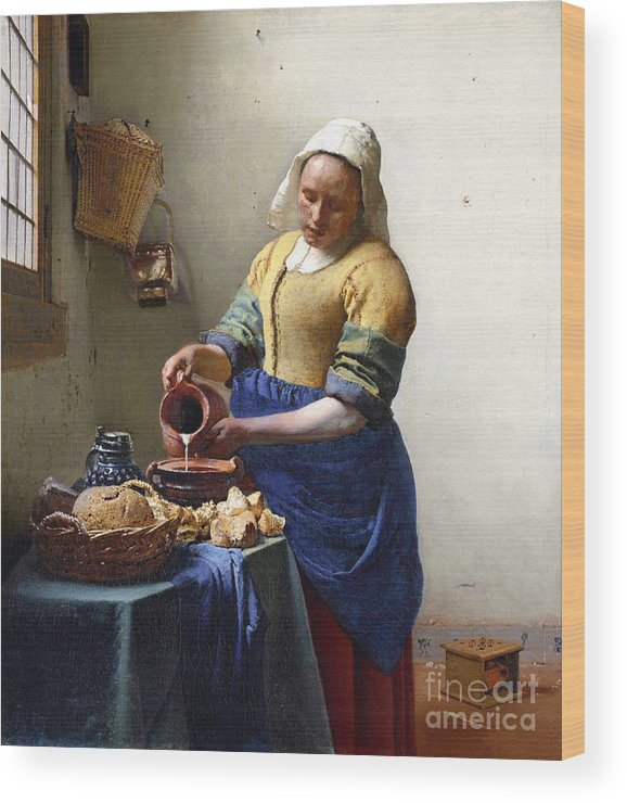 Female Portrait; Kitchen; Scullery; Interior; Bread Basket; Table; Loaf; Bonnet; Servant; Pouring; Milk; Maid; Domestic; Rustic; La Laitiere Wood Print featuring the painting The Milkmaid by Jan Vermeer