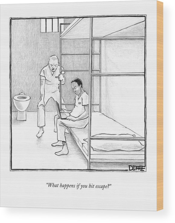 Prisons Wood Print featuring the drawing What Happens If You Hit Escape? by Matthew Diffee