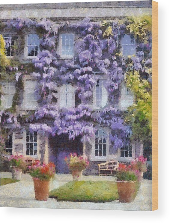 Wisteria Wood Print featuring the painting Wisteria Covered House by Desmond De Jager