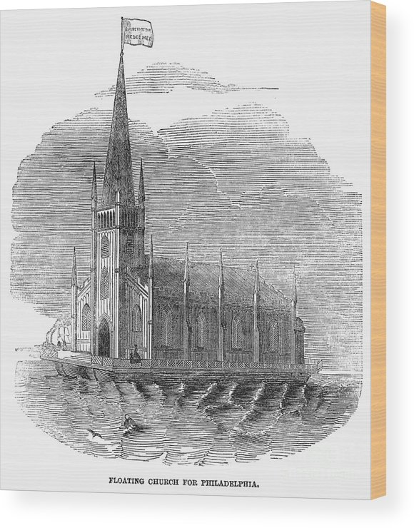 1849 Wood Print featuring the photograph Floating Church, 1849 by Granger