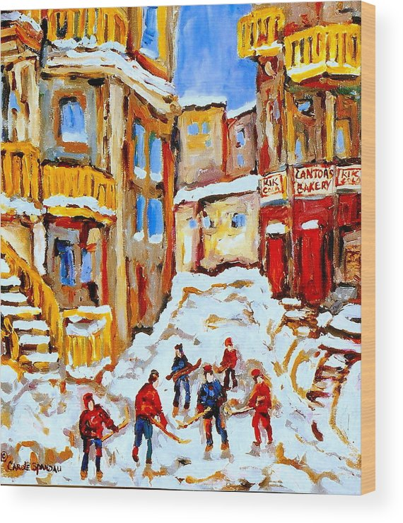 Hockey Art Wood Print featuring the painting Hockey Art Montreal City Streets Boys Playing Hockey by Carole Spandau