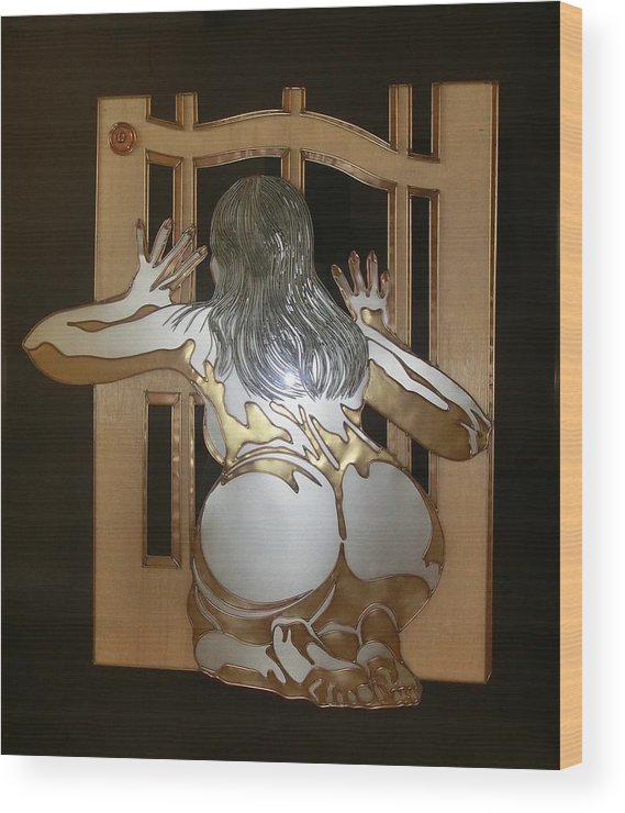 Nude Wood Print featuring the sculpture Naked Peeper by Edmundo De Guzman