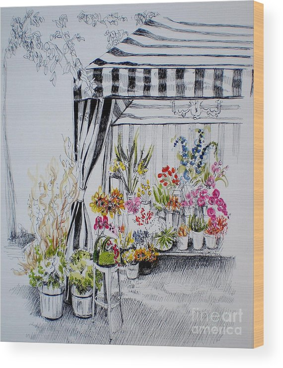 Flower Stand Wood Print featuring the drawing The Flower Stand by Dominique Eichi