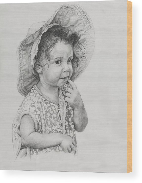 Little Girl Wood Print featuring the drawing Wait A Minute by Frank Zampardi