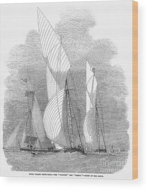 1855 Wood Print featuring the photograph Yacht Race, 1855 by Granger