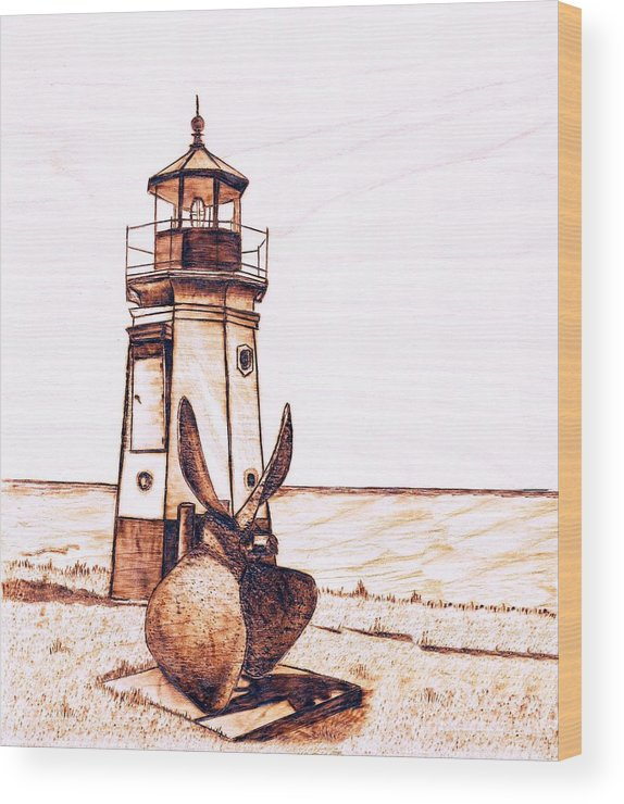 Lighthouse Wood Print featuring the pyrography Vermilion Lighthouse by Danette Smith