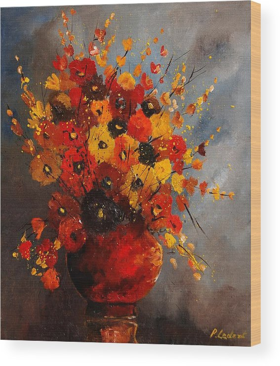 Flowers Wood Print featuring the painting Bunch 0708 by Pol Ledent