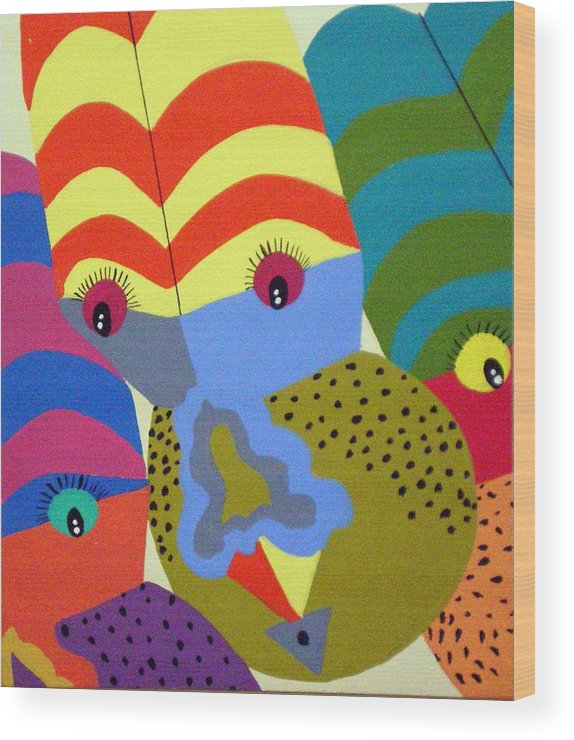 Clown Wood Print featuring the painting Clowns by Tammera Malicki-Wong