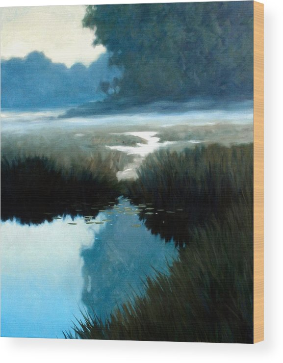 Landscape Wood Print featuring the painting Lifting Fog by Kevin Lawrence Leveque